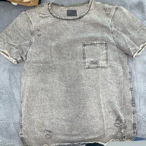 Grey denim t-shirt L - zara
